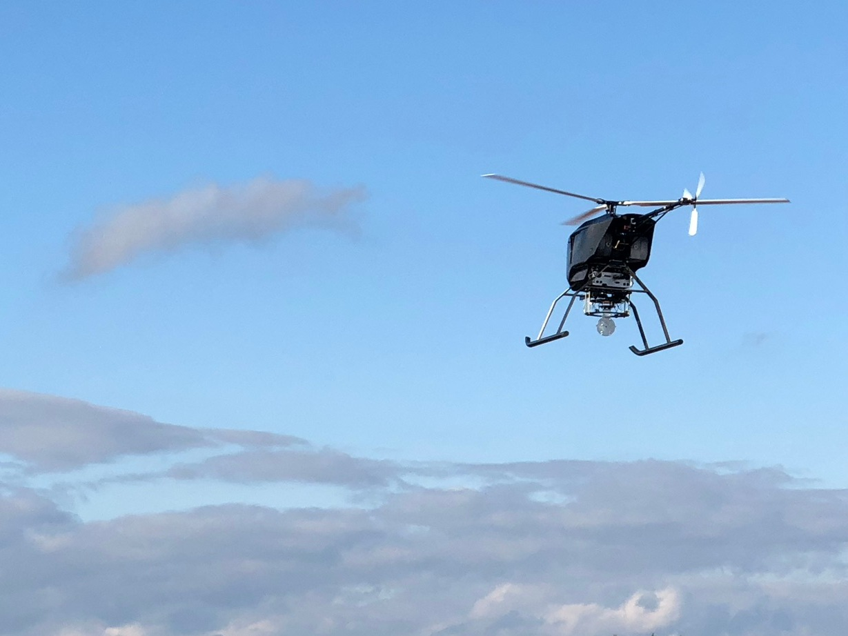 H19 helicopter drone in flight